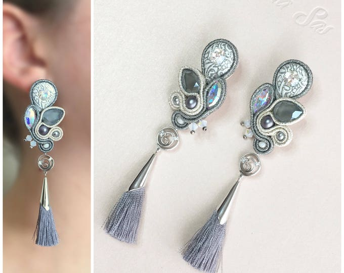 Soutache earrings- gray and silver tassel, handmade cabochon and Swarovski crystals