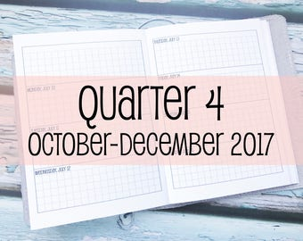 Traveler's Notebook B6 Size Week on Two Pages Grid Horizontal {Q4 | October-December 2017} #800-19