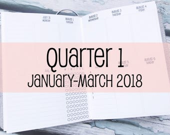 Traveler's Notebook B6 Size Week on Two Pages in VERTICAL Layout {Q1 | January-March 2018} #800-31