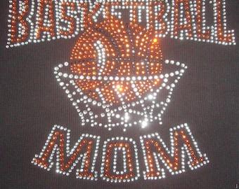 DIY Rhinestone Basketball mom Transfer Iron On Hot Fix Motif 9x8 inches Bling