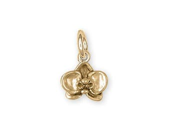 Orchid Jewelry 14k Gold Orchid Charm Handmade Flower Jewelry OR3-CG