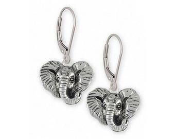 Elephant Jewelry Sterling Silver Elephant Earrings Handmade Wildlife Jewelry EL7H-E