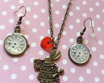 Alice in wonderland necklace earrings