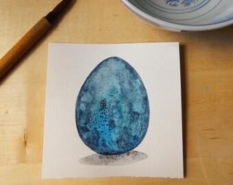 Labradorite Dragon Egg Watercolor Painting OOAK
