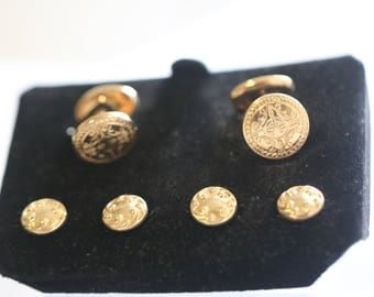 Vintage Tuxedo Cuff Links Shirt Studs Set, Etched Yellow Gold Gold Plated Cufflinks Cuff Link Set, Men GROOM Gift