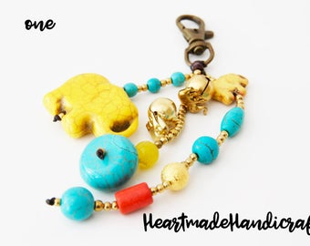 Handmade Thai elephant keyring pendant from stone
