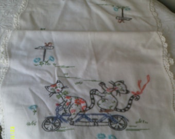 """Vintage Embroidered Dresser Scarf Runner with Cats on Bicycle, 15"""" by 36"""", Runner with Cats, Bedroom Linens, Embroidered Linen"""