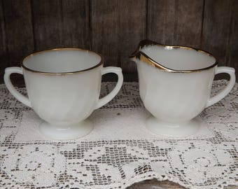 Vintage Fire King Swirl Milk Glass Creamer and Sugar Bowl/Home and Living/Kitchen and Dining/Dining and Serving/Anchor Hocking