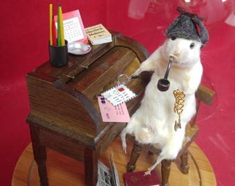 Anthropomorphic Taxidermy Mouse Sherlock Holmes Glass Dome Display-detective-very nice!!!!