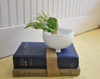 Etiquette and Antique Vintage Book with Milk Glass Center Piece