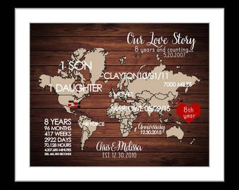 1st Anniversary Gift For Man, 1st Anniversary Gift Husband Her Wife Personalized Time Together Anniversery Date Present, Frame Canvas Option