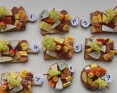 Dollhouse food: cheese and cracker board,12th scale miniature food, dollshouse dining setting