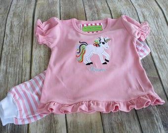 Girl Unicorn Pajamas-Personalized Girls Pajamas-Monogrammed Pajamas-Girls Pajamas-Baby Girl Pajamas-Unicorn Pajamas-Pink Pajamas