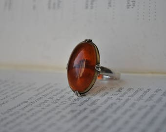 Vintage Sterling Amber Ring - 1960s Chinese Export Sterling Amber Ring