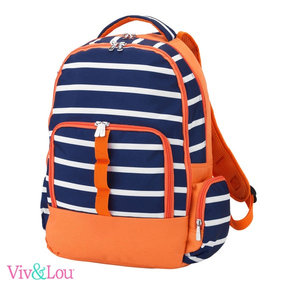 LINE UP blue orange  backpack striped bookbag embroidered bookbag paisley backpack back to school girls boys backpack monogrammed backpack