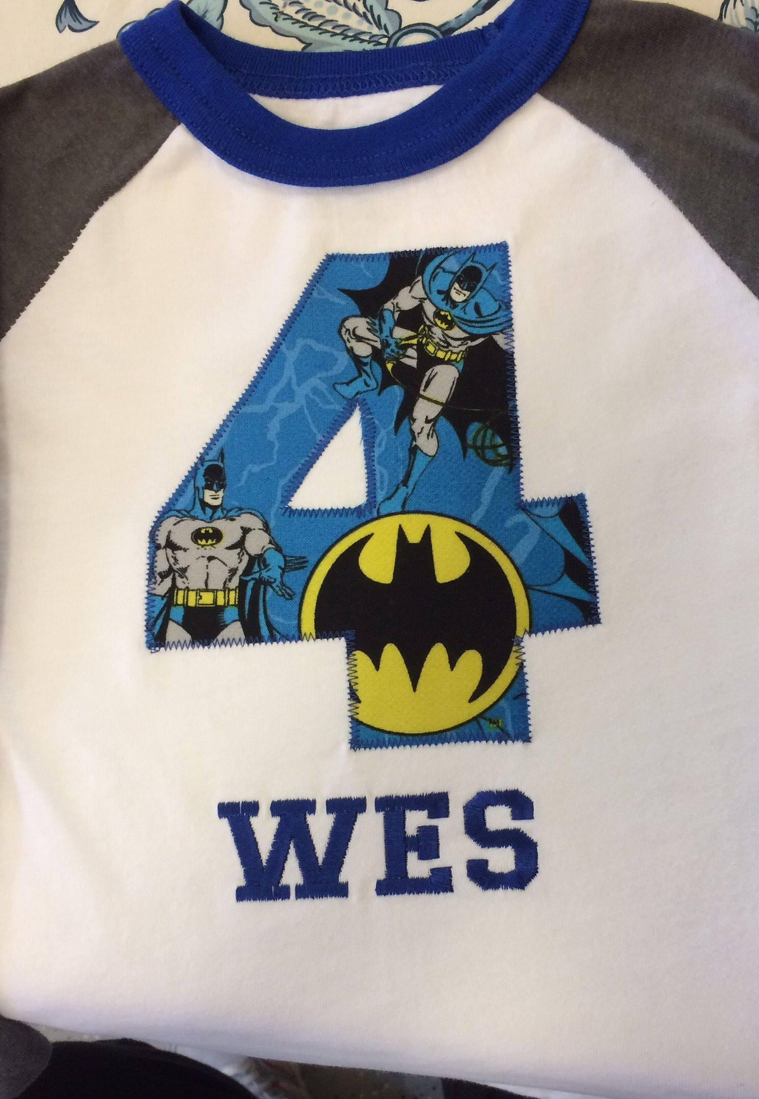 BATMAN Inspired BIRTHDAY Shirt Kids Personalized Birthday Party T Number Applique