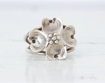 Sterling Silver Flower Ring | Vintage Estate Jewelry | Dogwood Blossom Ring | Romantic Floral Ring | Nature Inspired | Love Token | Size 7+