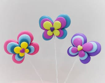 Butterfly Cake Toppers, Set of Three Butterflies, Pretty Cake Toppers, Polymer Butterflies, Butterfly Cake Decoration, Reusable Cake Decs