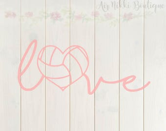 Volleyball Love, volleyball heart, sports SVG, PNG, DXF files, instant download
