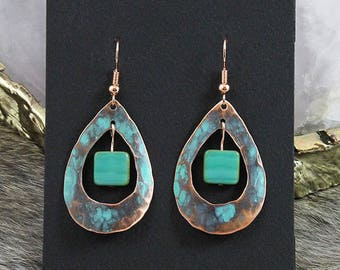 Copper Earrings with Turquoise Patina - Handmade