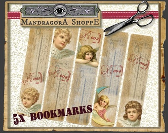 5 printable bookmarks /  instant print bookmarks / angel bookmarks / instant download bookmarks / DIY bookmarks