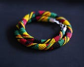 Reggae Necklace, Rastafarian Necklace, Rasta Necklace, Mens Accessory, African Jamaican Necklace, Red Yellow Green Black - MADE TO ORDER