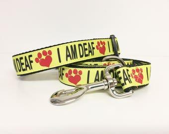 I AM DEAF Dog Collar & Leash Set