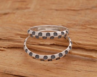 15%OFF-Ships on Sept15 Sterling Silver Wedding Ring Set, Unique Matching Wedding Bands, His and Hers Promise Rings, BE50