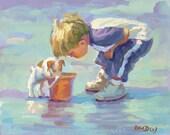 WONDER , Paper giclee, lovely colour   13 x 161/4  beach scene, boy and his dog, beach house, wall decor,  Lucelle Raad Art
