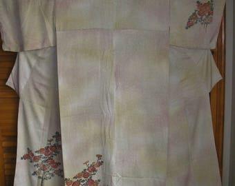 KIMONO Vintage Japanese Silk Kimono Snowstorm Chunky Chrysanthemum Flowers Silk Kimono Bokashi Dyed Snowstorm Mums Vintage Japan Silk Kimono