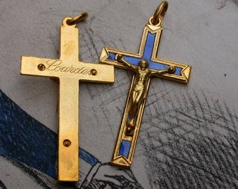 lot 4pcs Lourdes France French Vintage cross  crucifix in solid brass gold blue enamel cross jesus