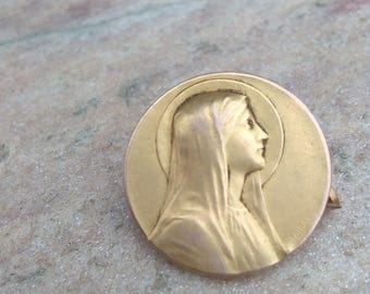 French antique 19th century  brooch medal virgin mary 18k pink gold vermeil gold star brooch gothic Antique reliquary