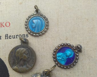 lot 4pcs French antique medals rose reliquary pendant blue enamel reliquary Virgin Mary St Theresa Teresa