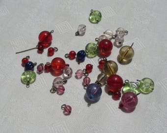 Lot Of Salvaged Multi Colored Beaded Dangles