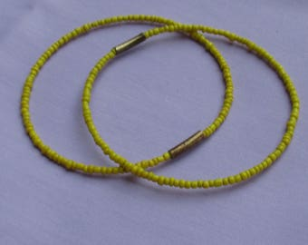 Retro Yellow Seed Bead Bangles