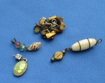 Lot Of Salvaged Beaded Dangles Shell Dangles
