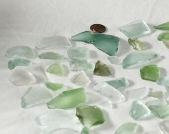80ctof White, Aqua, Blue, Sea Foam 100% Genuine Ocean Tumbled Sea Glass from the Monterey Bay mix grades