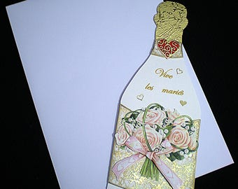 Bottle shape wedding card