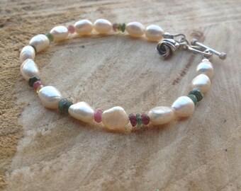 Ivory/white pearl/tourmaline/gemstone bracelet/flower charm/charm bracelet/Karen Hill Tribe Silver/Sterling silver/bridal wear/gift for her