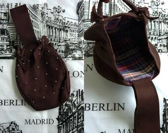 1940s studded brown bag purse