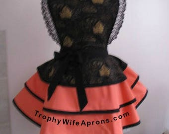 Apron # 1084 - Grape vine over salmon rlayered retro apron