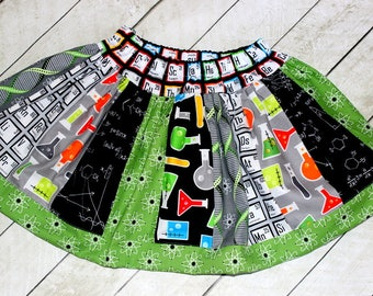 Science skirt Periodic table skirt Science beaker skirt Science Atoms skirt I love science birthday clothing Science fair Birthday outfit