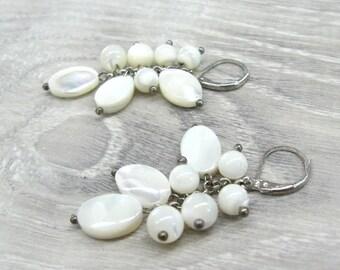 White Shell Earrings Cluster earrings mother of pearl earrings shell jewelry teachers gift|for|her beach wedding jewelry gift dangle earring