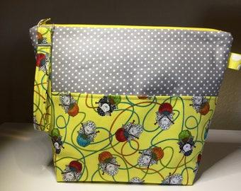 Yellow Knitting Sheep Project Bag