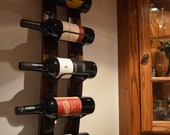 ON SALE - 10% off Wine rack - 5 bottle Rustic Wine Rack with Steel banding made from reclaimed wooden barrels