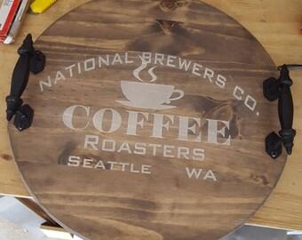 "18"" Wood Tray with Handles - Coffee Theme"
