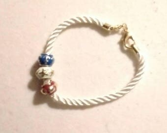 Red, white and blue rope bracelet