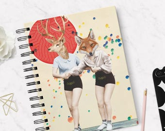 Fox & Deer Collage Notebook, Hard cover, Skaters, Lined Notebook ,Roller Skates, Handmade ,Retro Style, Hardback Notebook, Yellow, Red