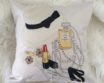 "Watercolor Fashion Inspired Art Pop Chanel perfume lipstick and hat print design Inspired pillow case cover linen 18""x18"""