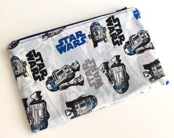 R2D2 Star Wars Makeup Bag, Makeup Pouch, Zipper Bag, Zipper Pouch, Pencil Pouch, Pencil bag